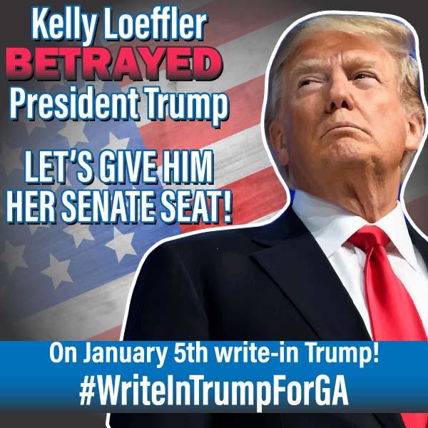 @CarrieWelborn Don't let RINO Loeffler get away with it! Vote Trump!  Libs - Owned✅ AOC - Sad✅ America - Saved✅  Oh yeah, it's MAGA time!! 🇺🇸😎🇺🇸 #WriteInTrumpForGA