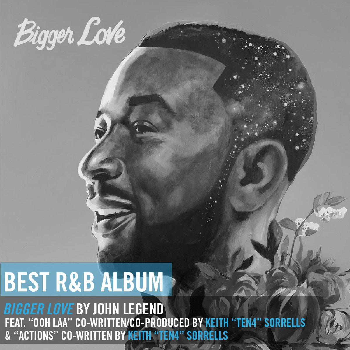 .@johnlegend's #BiggerLove, which features hit @ten4musik collabs, #Actions and #OohLaa, earned a @RecordingAcad #GRAMMYs nomination for Best R&B Album! 💙💪