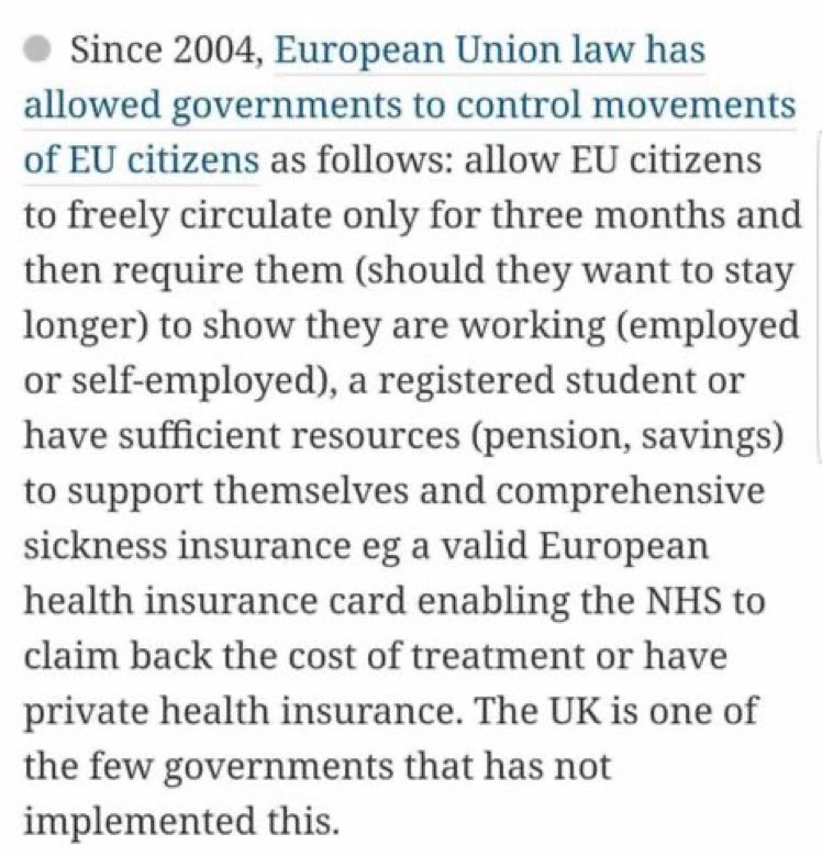 Under EU law, after 3 months, EU migrants must be working or have funds to live. If not, then they can be returned to their home country. The UK doesn't do this, nor does it register migrants as they arrive. If you have a problem with uncontrolled immigration, don't blame the EU.