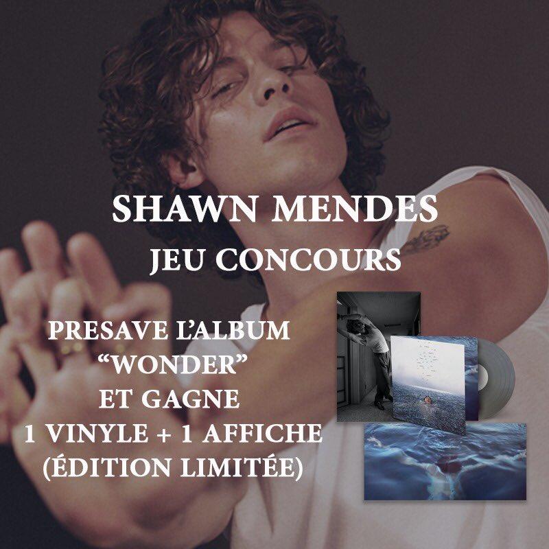 Tentez de gagner 1 vinyle + 1 affiche en édition limitée du nouvel album « Wonder » de @ShawnMendes ✨   Pour participer il vous suffit de pré-sauvegarder l'album dans votre bibliothèque ici :
