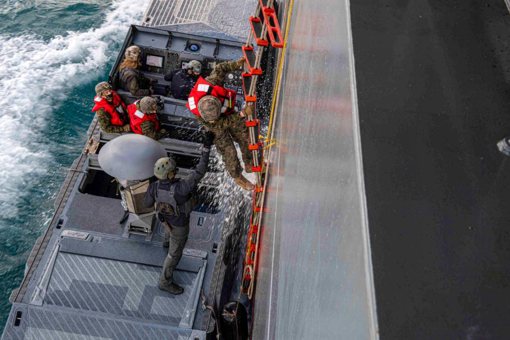 #USNavy Sailors conduct Combat Craft Assault operations from the Expeditionary Sea Base USS Hershel Woody Williams (ESB 4), while operating in the #MediterraneanSea. Hershel Woody Williams is on its inaugural deployment in the @USNavyEurope area of operations.