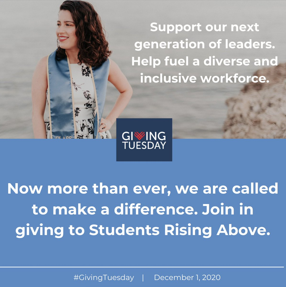 #GivingTuesday2020 is only one week away, coming up on December 1st!    If you are able, we hope you will join us and spread the spirit of giving! Tell others why you support Students Rising Above, @SRAprogram   Please consider contributing here: https://t.co/dBLblVcLK7 https://t.co/A2KISyBM91