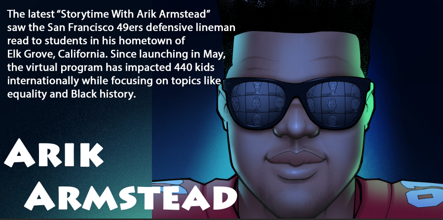 """Shoutout to our latest #CommunityMVP @ArikArmstead, who has shown more than 450 kids from Sacramento to Qatar that reading is fundamental through his weekly virtual """"Storytime With Arik Armstead."""" Check out the Week 10 runner-ups to get you in the #Thanksgiving spirit:"""