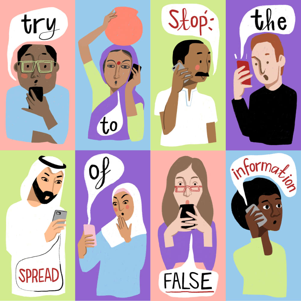 Misinformation during a crisis like #COVID19 can result in people being left uninformed, unprotected & vulnerable. ❌ Don't share rumours ✔️ Choose content verified by reliable sources   🎨: Ruth Borrows