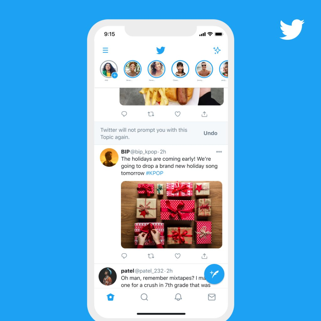 Topics for you, right to you. We're bringing suggested Topic Tweets into your Home timeline so you can easily follow the Topic for more content  –– or let us know you're not interested in it.