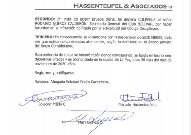 #FBF El secretario general del club Bolívar, Rodrigo Quiroz, es suspendido por 6 meses de acuerdo al articulo 28 del Código Disciplinario de la #FBF.