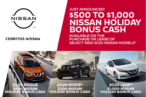 Get started here: https://t.co/ZbZJUNGJIe  $500 Nissan Holiday Bonus Cash available on 2020 Rogue & Kicks. $1,000 Nissan Holiday Bonus Cash available on 2020 Leaf models. Available on purchase or lease. Residency restrictions apply. See dealer for details. Offer ends 11/30/20. https://t.co/L0bDabHMzB