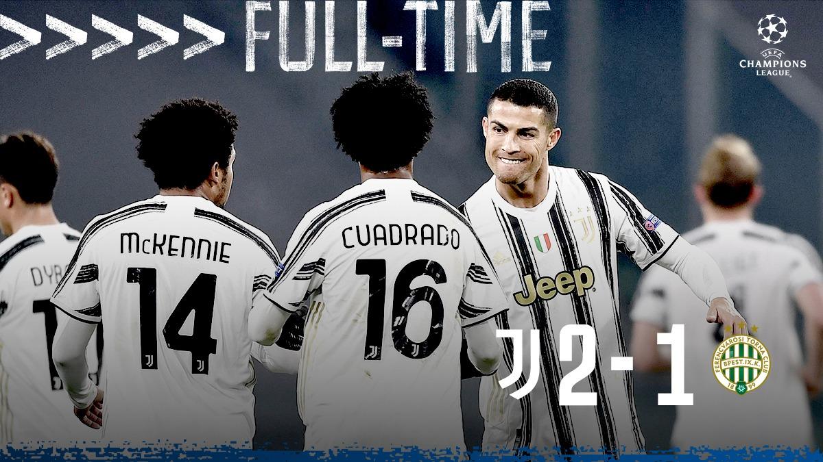 FT | Triplice fischio all'Allianz Stadium!   Stringiamo in mano il pass per gli ottavi di #UCL, combattendo #FinoAllaFine 💪  I gol di @Cristiano e @AlvaroMorata valgono i tre punti e il passaggio del turno⚪️⚫️  #JuveFerencvaros [2-1] #JuveUCL