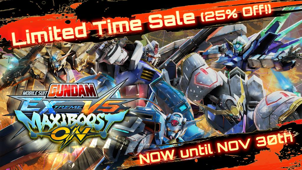 Prepare to suit up and save, MOBILE SUIT #GUNDAM EXTREME VS. MAXIBOOST ON is now 25% off!  Follow the link to order today, and we'll see you on the battlefield! (Ends Nov. 30th)