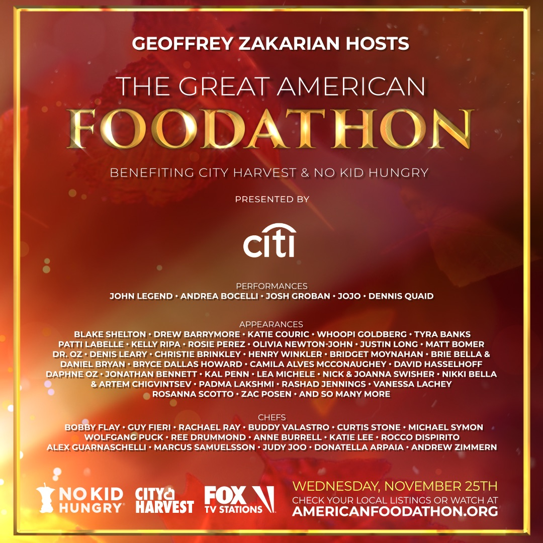 I'm excited to be a part of The Great American Foodathon tomorrow on Fox. The show is raising money for @nokidhungry & @cityharvest who are helping families & children struggling with hunger during this pandemic. Check your local listings or watch online: