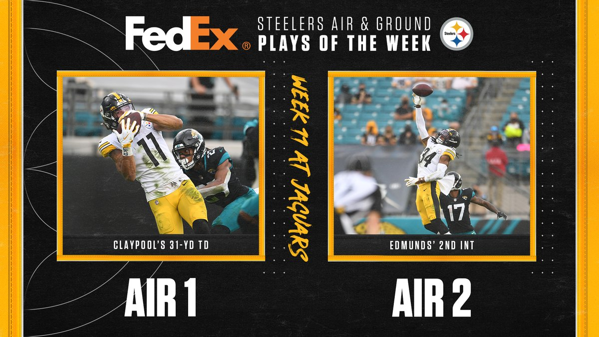 #SteelersNation voted on our IG Story for 2️⃣ @FedEx #Steelers Air Plays of the Week 💪  @ChaseClaypool & @rell_island6 are Week 11's winners ⬇️