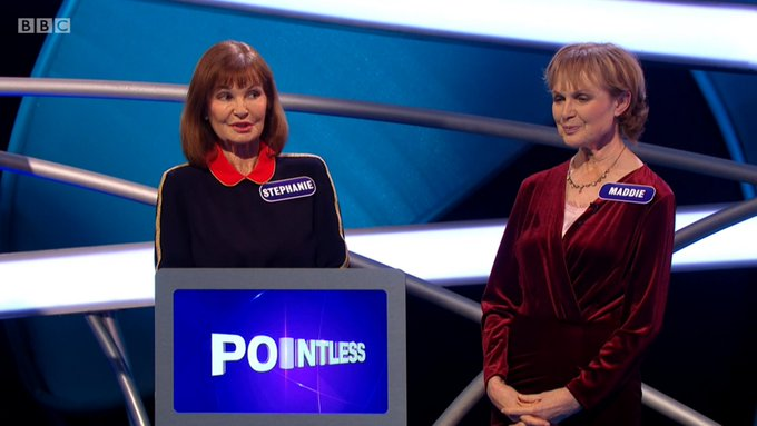 Funniest thing on @BBCiPlayer this week: Maddie Smith and Stephanie Beacham battling through adversity on #PointlessCelebrities. Absolute legends. Give 'em their own sitcom, pronto. https://t.co/VhtLNRVKdW