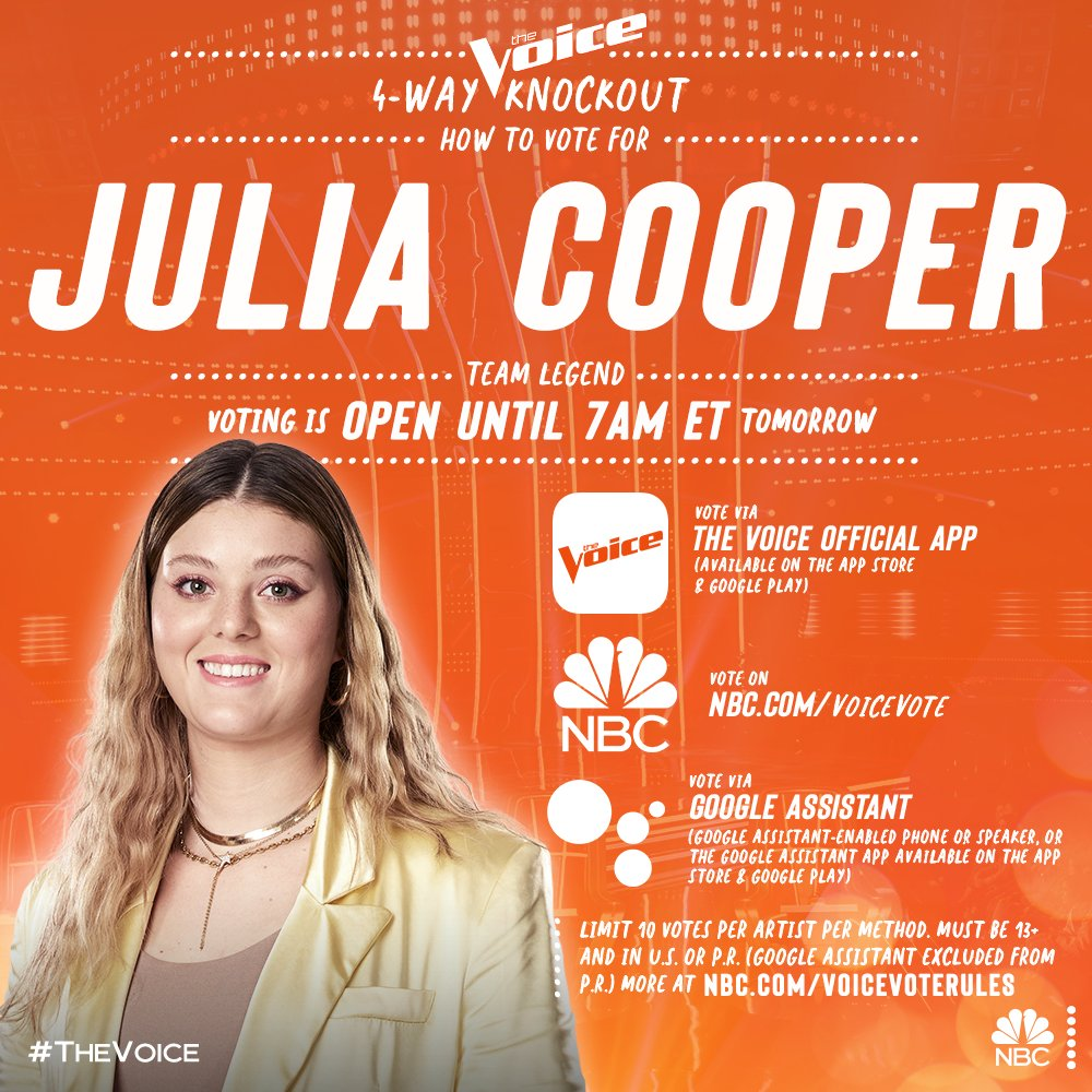 It's up to you, America! If you want to see @JuliaCoopMusic with Team Legend in the live shows - VOTE FOR JULIA!!