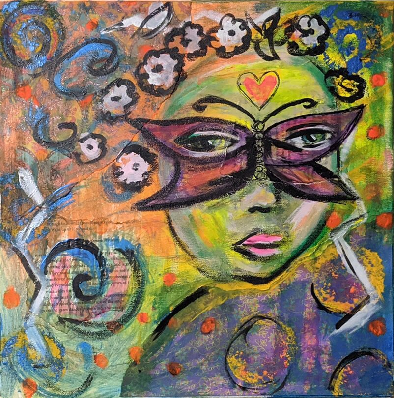 "Featured in ""Art St. Louis XXXVI, The Exhibition"" in-gallery exhibit on view thru 12/17: Kendra Cordova, O'Fallon, IL. ""My Lupus Butterfly."" 2019. Mixed Media: Acrylic, Paper, Glue on Canvas, 14""x14"". NFS. . . . . .  #artsaintlouis #ArtStL #STLmade #wearamask #lupusinart"