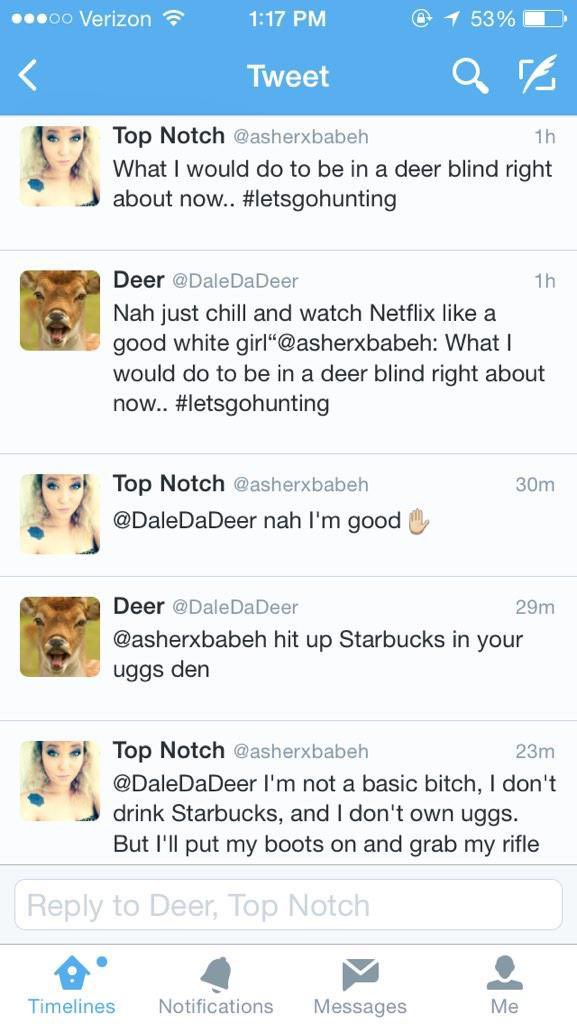 Y'all remember when that bitch got into an argument with a deer? RL #twitterOG