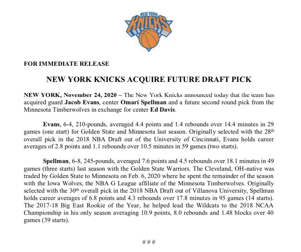 Replying to @NY_KnicksPR: .@nyknicks Acquire Future Draft Pick
