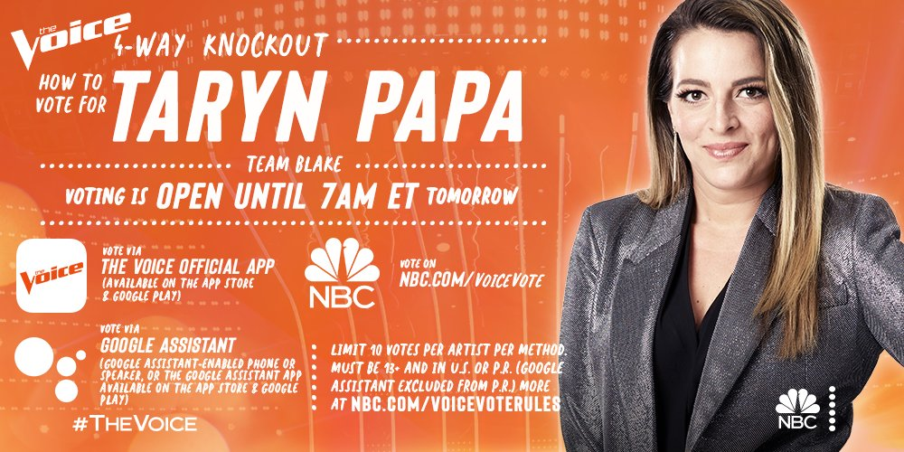 Alright y'all now it's up to you to make sure @TarynPapa is in the live shows! GO VOTE!!!! #TeamBlake