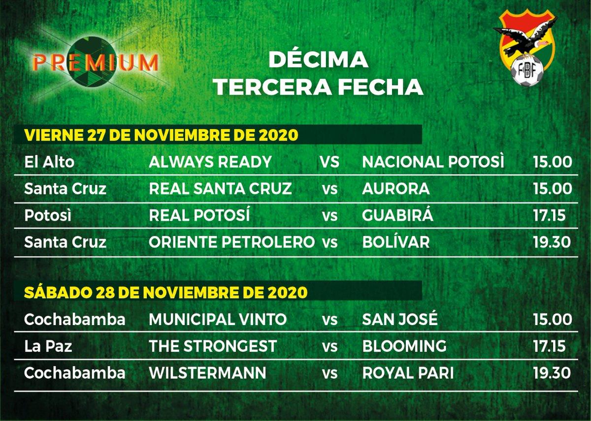 #FBF Oficial: el torneo Apertura se reanudará el viernes 27 con el partido entre Always Ready y Nacional Potosí en El Alto, de esa manera se abrirá la décima tercera jornada, la última de la primera rueda, que se completará el sábado 28. No habrá partidos el domingo 29.