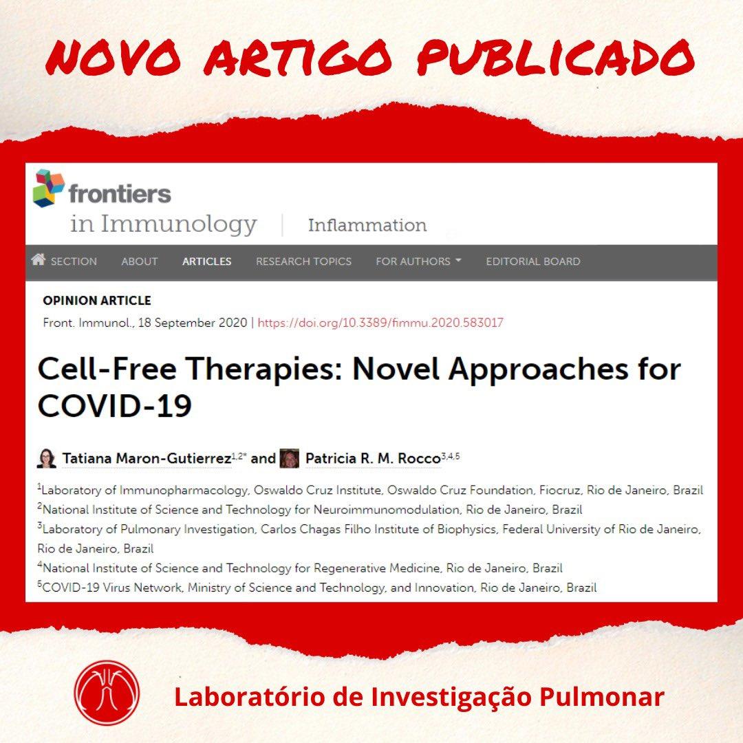 Mais um artigo do LIP publicado com sucesso! Esse é sobre terapias não-celulares: novas abordagens para a COVID-19. Parabéns, LIPenses!!  Link:   #LIP #LIPUFRJ #coronavirus #ufrj #saúde #cienciabrasileira #covid19 #fiocruz
