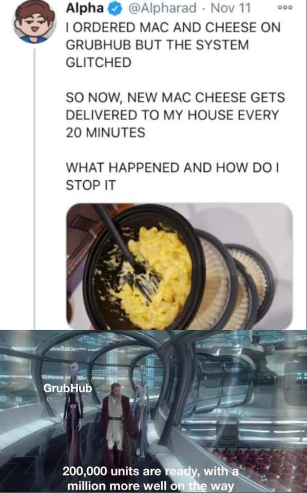 .@Bubola how pissed would you be if you were getting mac & cheese delivered every 20 minutes and someone put a stop to it? Haha https://t.co/ZX3AdFMMA6