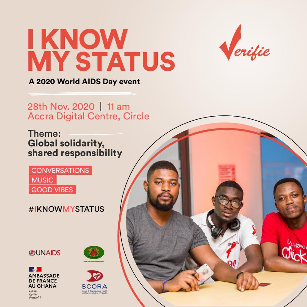 This Saturday we celebrate World AIDS Day with the launch of our #IKnowMyStatus project supported by @unaidsghana and the French Embassy to Ghana. There's something exciting coming up. Stay tuned.