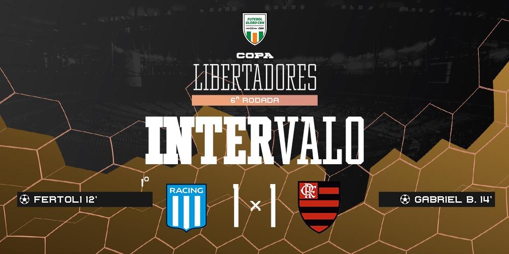 FIM DE PRIMEIRO TEMPO! O @Flamengo vai empatando por 1 a 1 na Argentina.   Siga ao vivo! 📻 98,1 FM | 92,5 FM 💻 https://t.co/ftP9Bbob6O 💻 https://t.co/XEy3EdIPAZ #FutGloboCBN https://t.co/MY0Cotk4BC