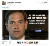 @JacobRubashkin @marcorubio SO WTF are you talking about you dumbass!  I think trump may have called your wife ugly and that your dad helped killed JFK like he did your partner in crime, lying Ted! But you would be too chicken shit to say anything! https://t.co/oBH99cJ3Ez