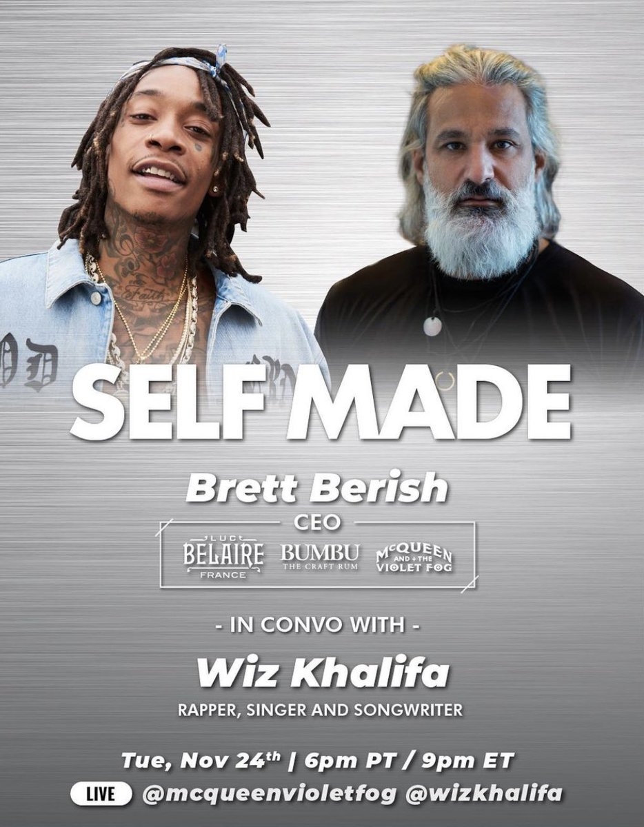 """Join @brettberishceo """"In Convo With"""" @wizkhalifa tonight at 9pm ET / 6pm PT  ___________________________ Live 👉🏾  @mcqueenvioletfog @wizkhalifa  ___________________________ #promucity #brettberish #wizkhalifah #mcqueenvioletfog #belaire #music #business #hiphop #Pittsburgh"""