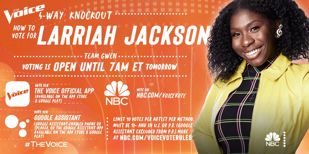 It's time to go vote for @Larriah4 to join #TeamGwen in the live shows!! She deserves it 🌟 gx #TheVoice
