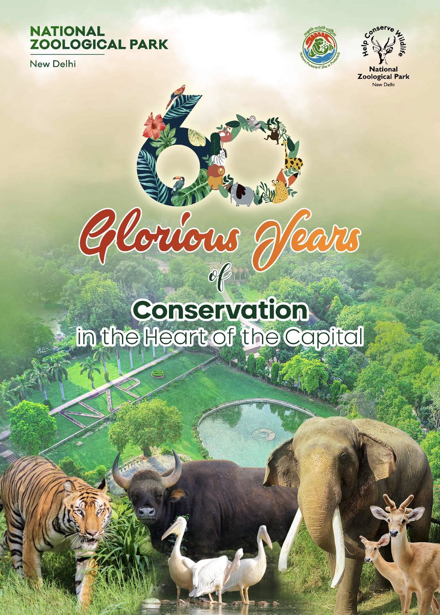 The National Zoological Park, New Delhi hosts 83+ number of species of animals with ~1169 number of individual animals housed in 67 number of naturalistic enclosures.  The park has completed the 60 glorious years of wildlife conservation in the heart of the Capital.