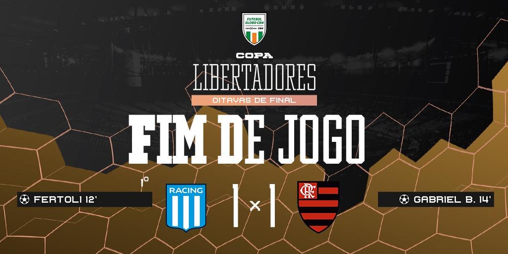 FIM DE JOGO! O @Flamengo termina com um a menos, mas sai de Avellaneda com um empate contra o @RacingClub no jogo de ida das oitavas da @LibertadoresBR.  Siga ao vivo! 📻 92,5 FM | 98,1 FM 💻 https://t.co/ftP9Bbob6O 💻 https://t.co/XEy3EdIPAZ #FutGloboCBN https://t.co/r3AgjEsUAC