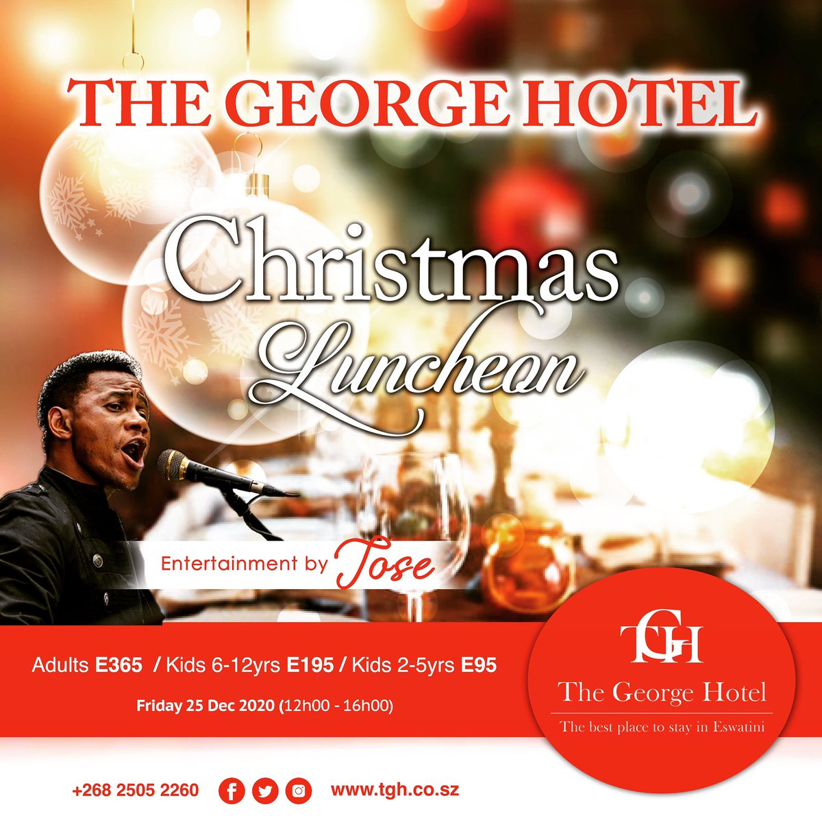 Enjoy a #buffettodiefor and #serenadingmusic from #jose this #christmas for only E365 per adult.  Call +26825052260 to reserve your table.  #christmaslunch #familytime #festiveseason #holidays #limitedseating #bookyourtable #adheretocovid19guildelines https://t.co/bovRbfJSEI