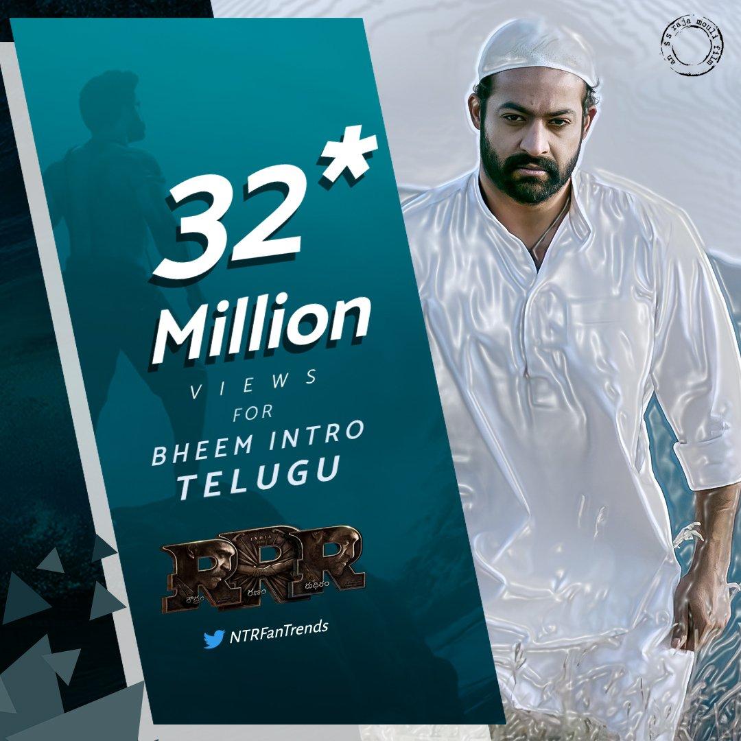 32M Views For Bheem Intro 🔥  Racing Towards Becoming Highest Viewed Telugu Teaser Ever 💪  Crossed 50M Views In All Languages In YouTube Alone 🔥  Watch Here :   #RamarajuForBheem  #KomaramBheemNTR || #ntr #RRRDiaries @tarak9999