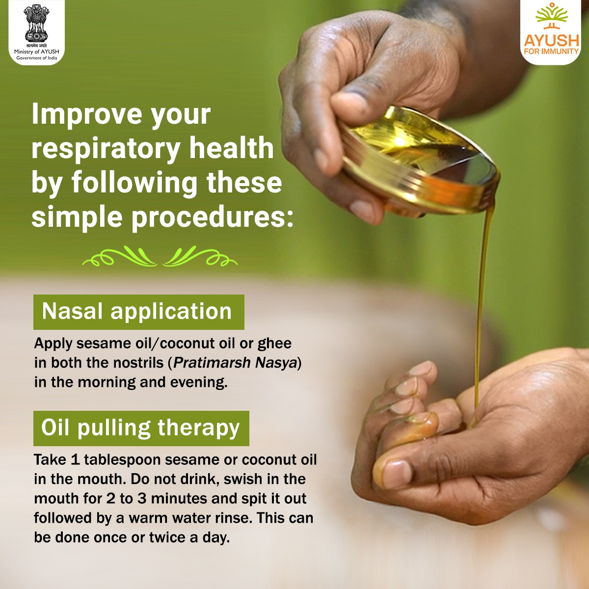 #Ayurveda focuses on preventive measures that help in enhancing #immunity.   It is based on the belief that #health and #wellness depend on a delicate balance between the mind, body and spirit.   By following some simple procedures at home, we can help improve our body's disease