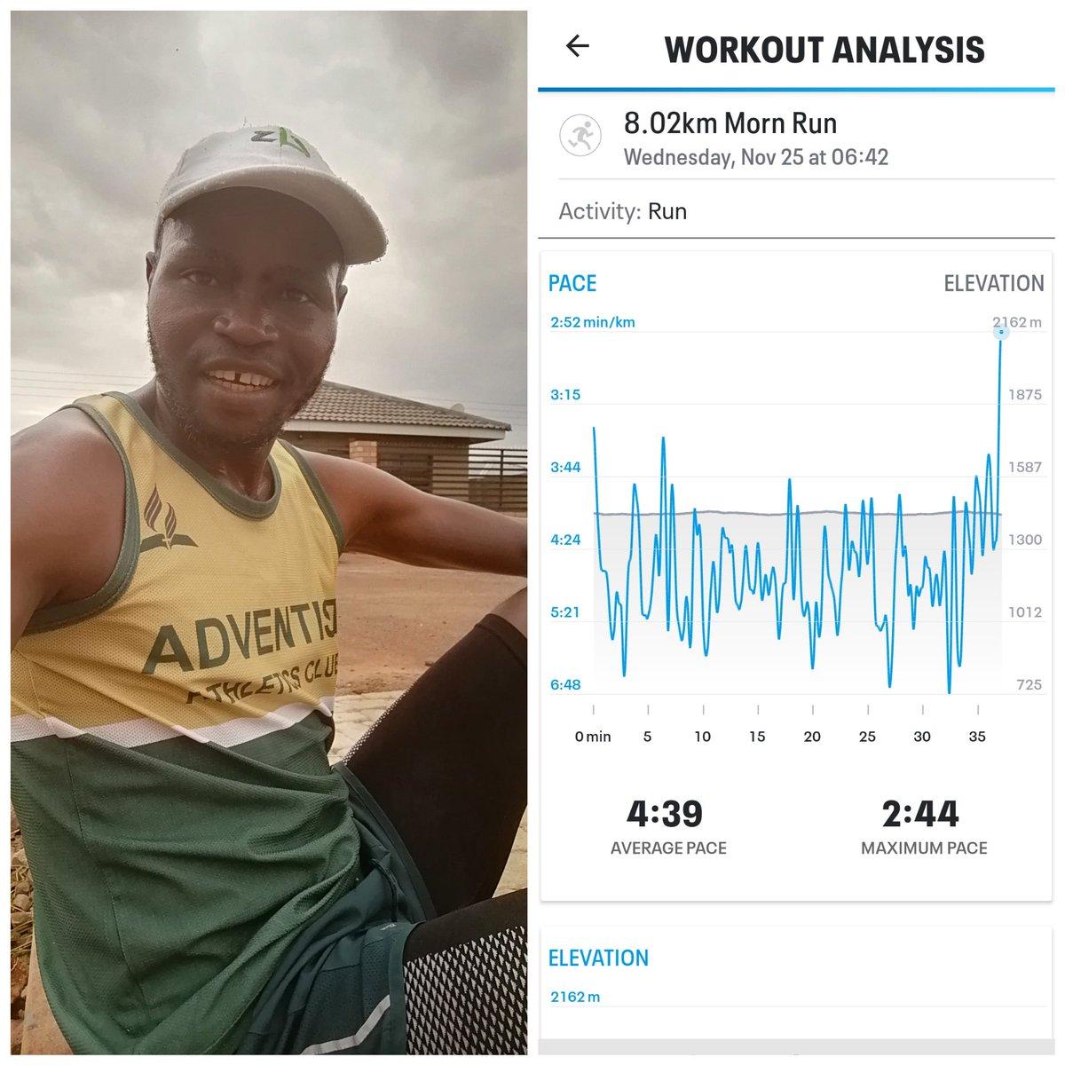 8.02km Morn Run at Ave Pace 4:39/km (or 12.9km/h)... Maximum Pace 2:44/km (or Maximum Speed 21.9km/h). 1,650km YTD - 150km to Go for 2020 #fitness #wellness #Wellbeing #KumhanyaHatiregiZvekumhanya https://t.co/Lo44sGO2gj