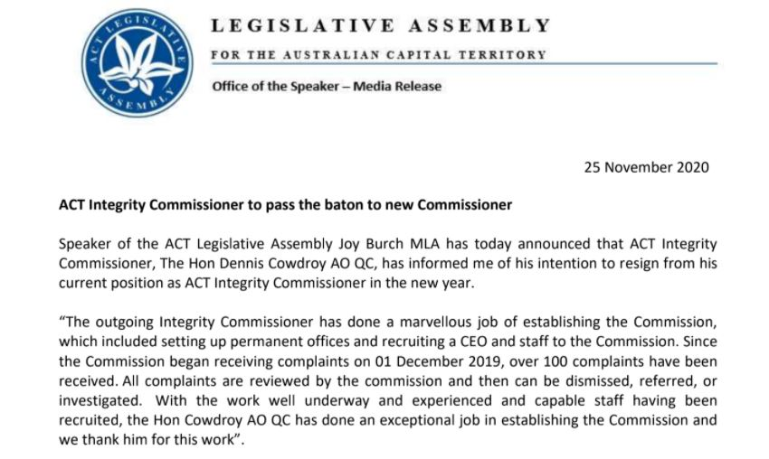 #Breaking: ACT Integrity Commissioner has resigned