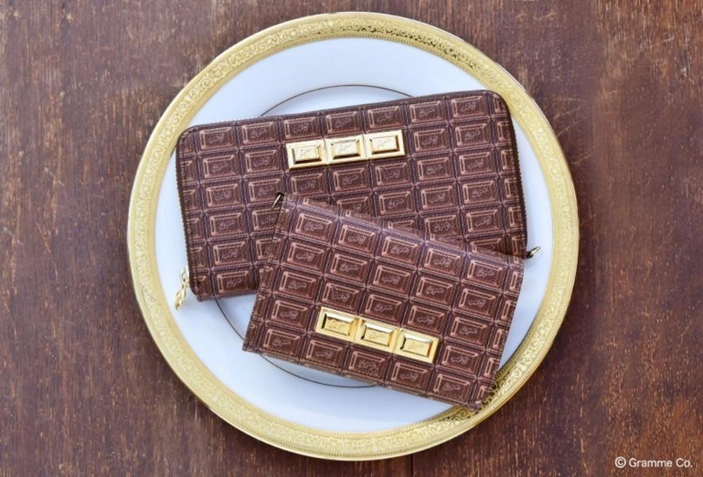 """Q-pot.""""チョコレート&ビスケット""""柄の長財布&二つ折り財布、ビターチョコやミルクビスケットなど -"""