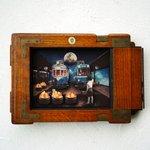 Image for the Tweet beginning: 中崎町・ギニョールさんの11月28日から開催の「月世界旅行」に僕はコラージュ「天文台の前で土星と出会った話」「流れ星集積場」「fly me to the moon」とスライドセットの「クシー君の発明BOX」で参加させて頂いています。よろしくお願いします。   #天体観測展