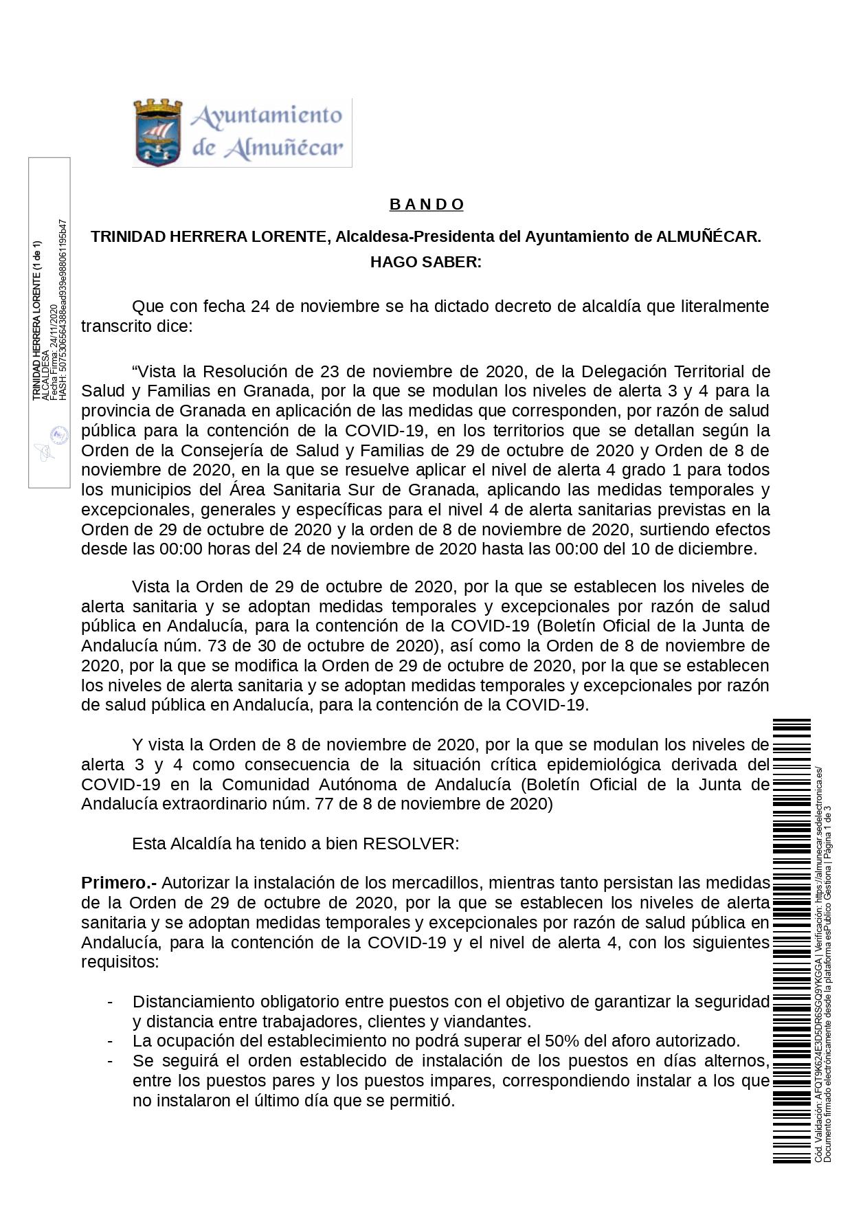 Bando de la alcaldesa de Almuñécar #Almuñecar #Almunecar @AlmunecarAyto Trinidad Herrera Lorente @TriniHL con fecha 24 de noviembre: