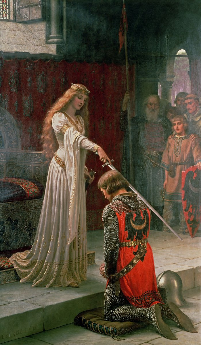 """""""The Accolade (1901)"""" Edmund Blair Leighton (21 September 1852 – 1 September 1922) was an English painter of historical genre scenes, specialising in Regency and medieval subjects."""