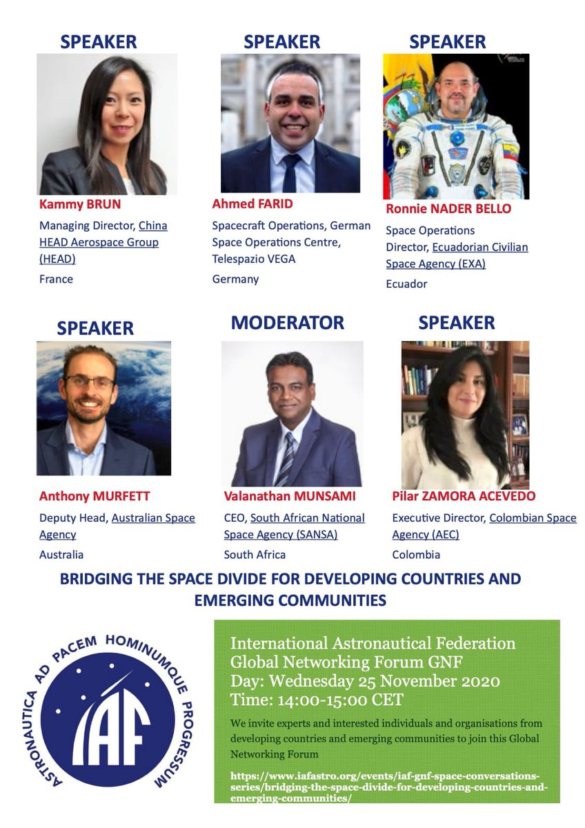 Today, HEAD's Managing Director @kammybrun will speak at IAF GNF Space Conversations Series Bridging the Space Divide for Developing Countries and Emerging Communities. Session starts at 14.00 (CET) Go here to join the event  #iaf #eo #iot #earthobservation