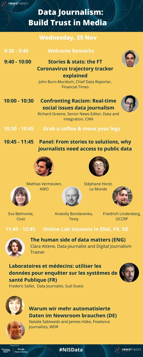 Are you ready for Day 2 of our #NISData Summit?  Today, we will ... 📊look behind the scenes of the @FT Coronavirus tracker 📊learn real-time social issues #DataJournalism 📊discuss access to public data for journalists 📊and more!  📽Join us at 9:30 CET!