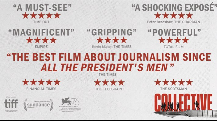 #CollectiveFilm: 👇 Richly-deserved glowing reviews of this masterpiece on the power of investigative journalism.   Watch it here:  & our discussion with director @AlexanderNanau & lead journalist @tolontan here: