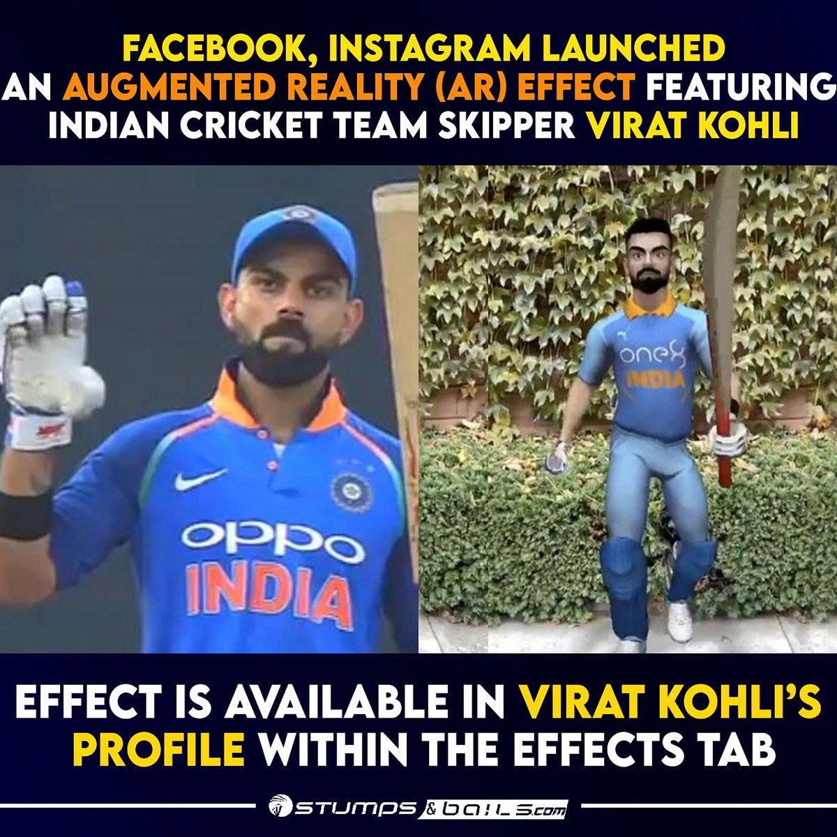 Try now @imVkohli #Instagram  Follow us @stumpnbails #IndianCricketTeam #Indiancricketer #ViratKohli #AR #Augumentedreality #ARfeatures #Instagrameffect #Viratkholi18 #Teamindia #INDvsAUS