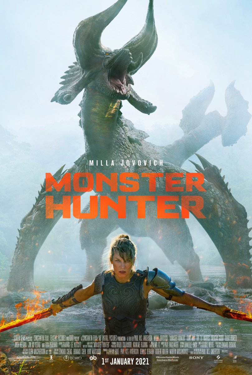 Great news!  #MonsterHunter fans rejoice.  The film based on the very popular video game will release in India on January 1, 2021, Audience will get to see it in IMAX and 3D in English, Hindi, Tamil and Telugu.   #MillaJovovich and @tonyjaaofficial.    @SonyPicsIndia Release..