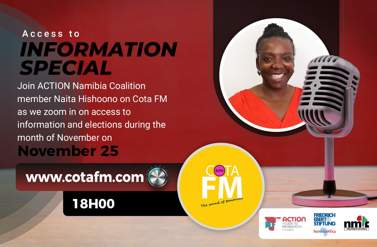 Our constitution gives us powers to decide who will run the affairs of our country, so don't waste that power! Tune in on COTA FM  for the full interview. #IWillVote #NamVotes2020   @NIDnamibia   @fesmediaAfrica  @OSISA @MICTNamibia @ECN_Namibia @LACNamibia