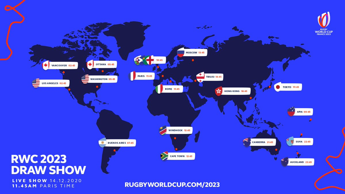 test Twitter Media - The Rugby World Cup 2023 draw show will take place on 14 December, at 11:45hrs (GMT+1)  Hosted by @ugomonye and @Elmakapelma, it will be available across all RWC platforms and feature star players from all qualified teams.   More info: https://t.co/AuIHR45zal     #RWC2023 https://t.co/yZ4NHy0U0i
