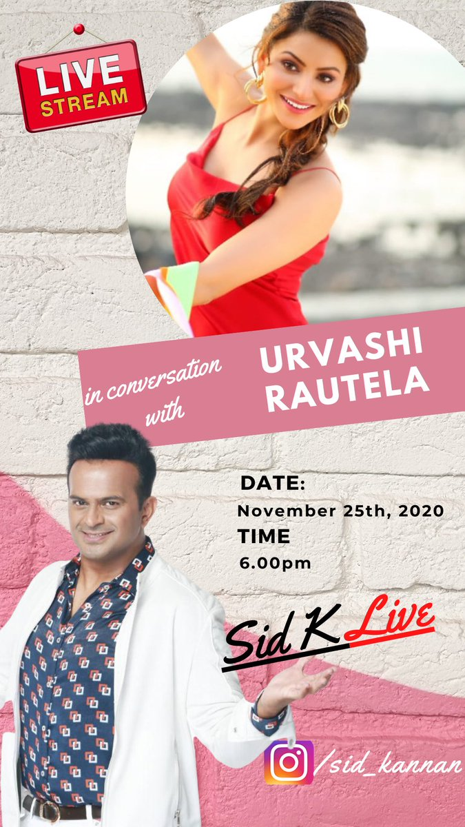 Catch me LIVE today, 25th November, 2020 at 6pm on my Instagram page with the incredible @UrvashiRautela! Join us for a very fun chat and don't forget to ask in your questions!    #SidK #SidKLive #UrvashiRautela