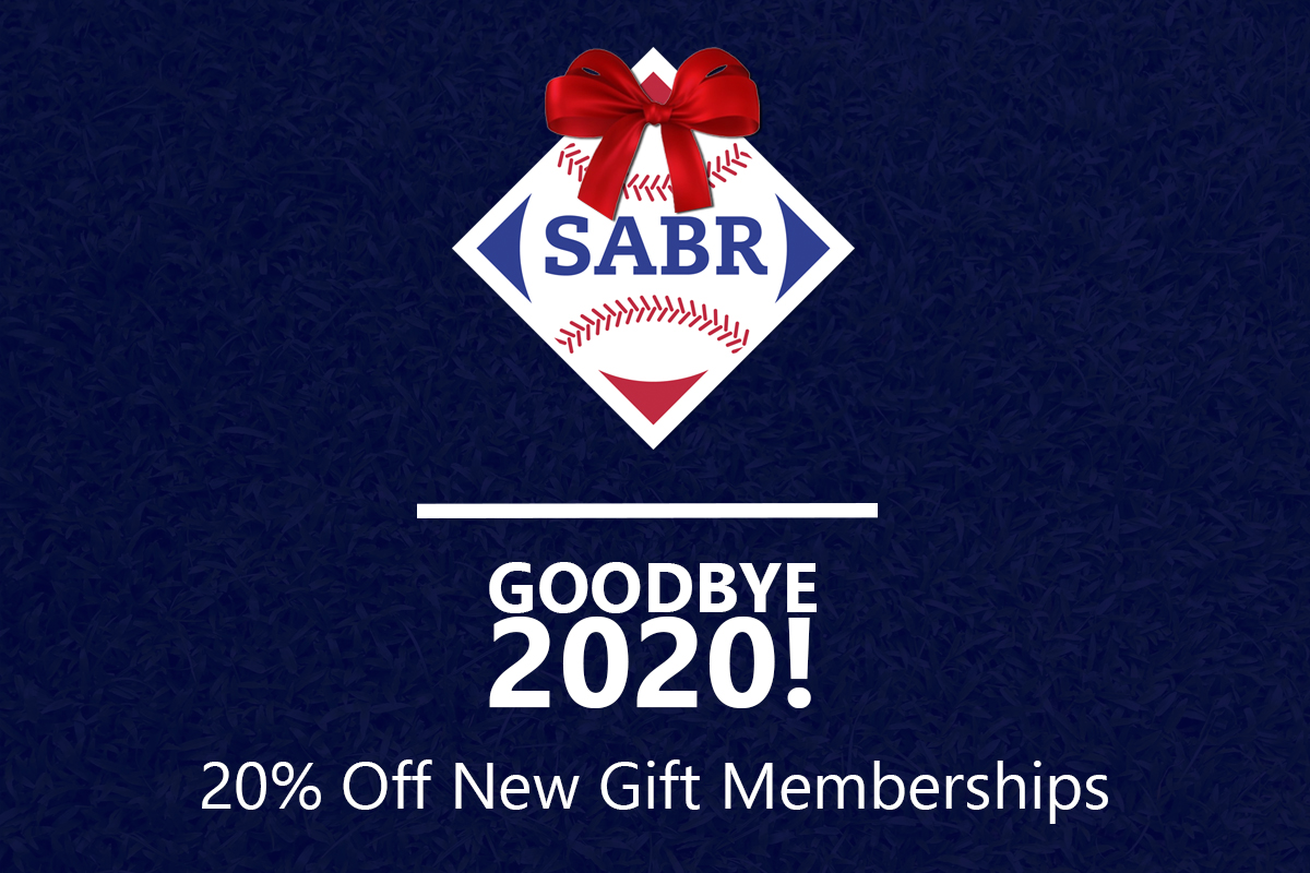 Say goodbye (and good riddance!) to 2020 with 20% off a new #SABR Gift Membership for the baseball fan in your life. Learn more: https://t.co/ryMYoQWHVb https://t.co/3zKY6x7VSK