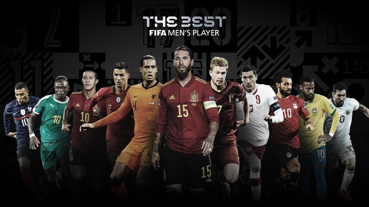 🏆 Nominees: #TheBest FIFA Men's Player   🇪🇸 Thiago Alcântara  🇵🇹 Cristiano Ronaldo 🇧🇪 Kevin De Bruyne 🇵🇱 Robert Lewandowski 🇸🇳 Sadio Mane 🇫🇷 Kylian Mbappe 🇦🇷 Lionel Messi 🇧🇷 Neymar 🇪🇸 Sergio Ramos 🇪🇬 Mohamed Salah 🇳🇱 Virgil van Dijk  ℹ️🗳️